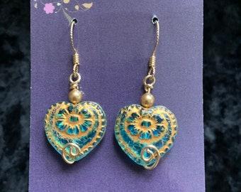 Handmade 14k gold-filled earrings blue glass heart wire art jewelry artisan