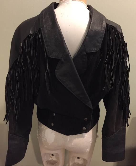 Women's Vintage 80's Fringe Suede & Leather Jacket
