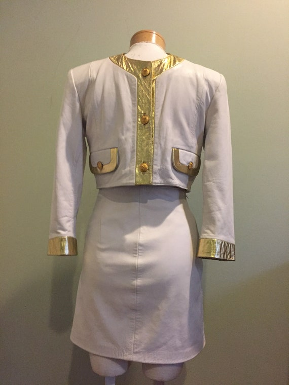 Vintage Michael Hoban North Beach White Leather S… - image 1