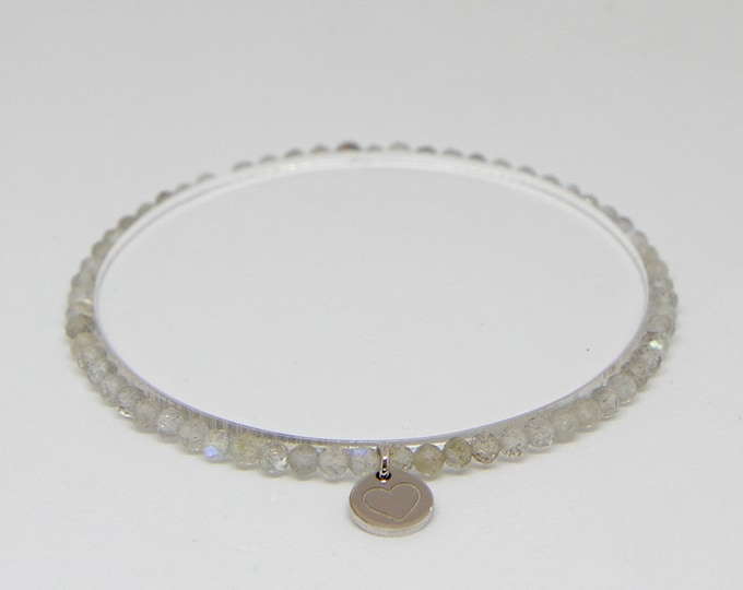 Labradorite and 9 kt white gold bracelet