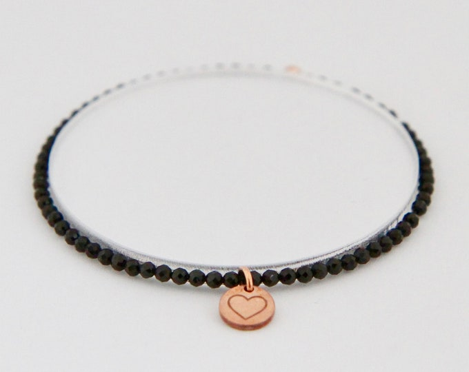 Black spinel and 9 kt rose gold bracelet