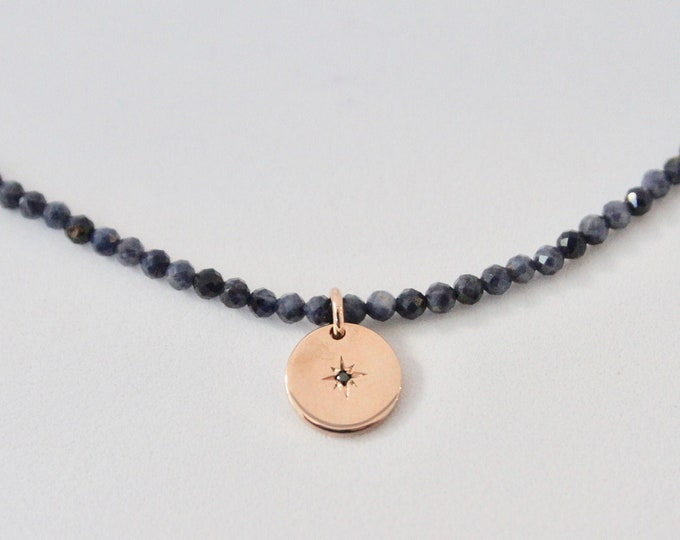 Rose gold and black diamond with gemstones necklace