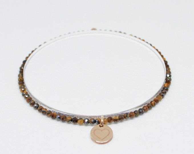 Tiger eye and 9 kt rose gold bracelet