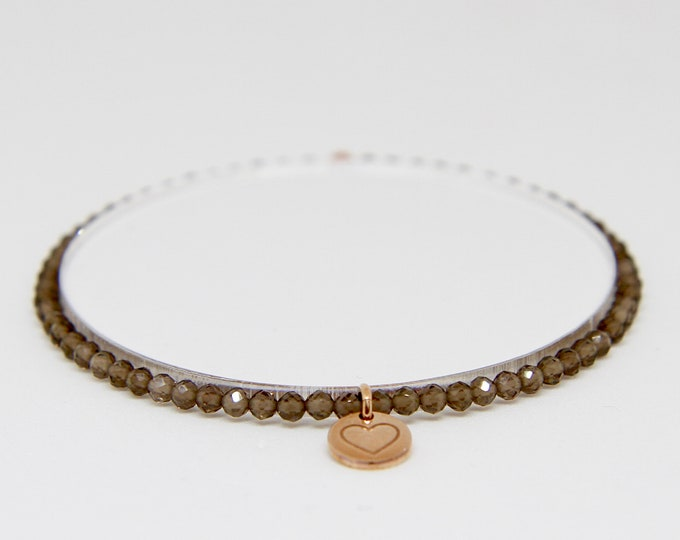 Smoky quartz and 9 kt rose gold bracelet
