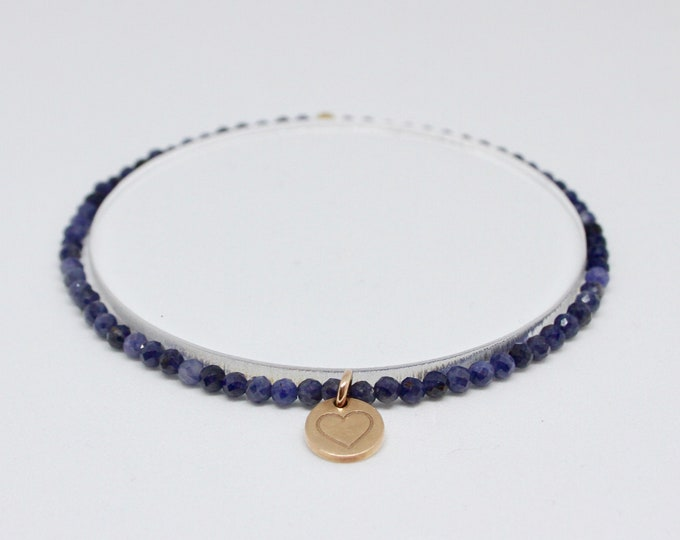 Blue sapphire and 9 kt rose gold bracelet