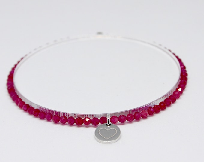 Ruby and 9 kt white gold bracelet