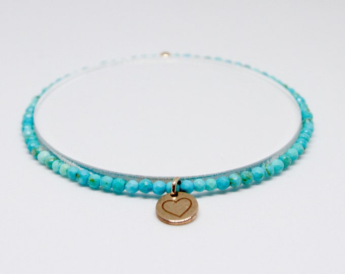 Turquoise and 9 kt rose gold bracelet