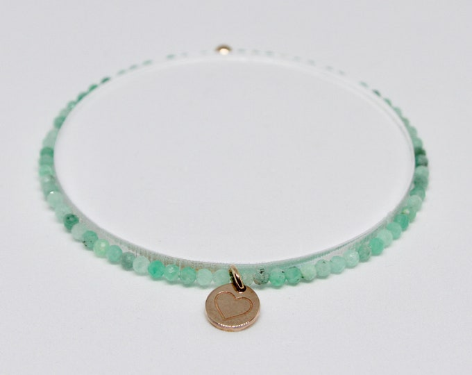 Emerald and 9 kt rose gold bracelet