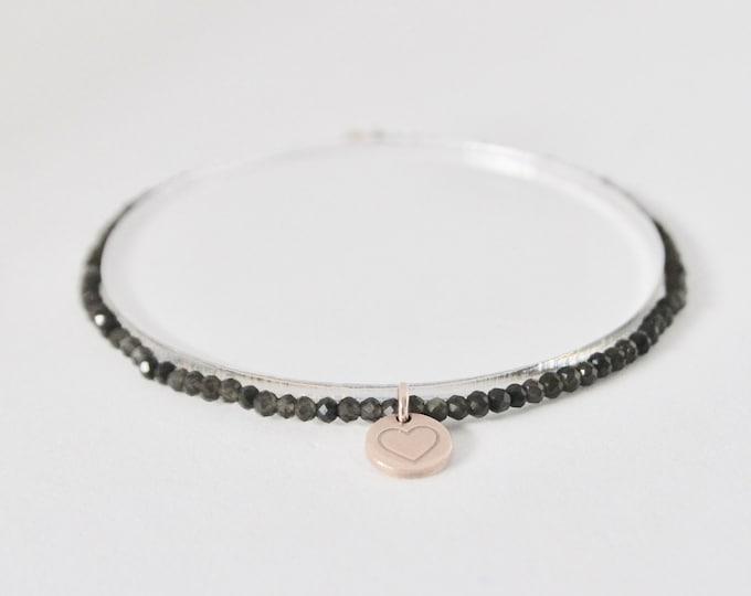 Smoky quartz and 9 kt rose gold bracelet
