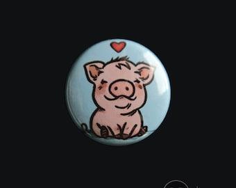 "Love Pigs - 1"" BUTTON - Pigs Pin, Cute Pig, Vegan Badge"
