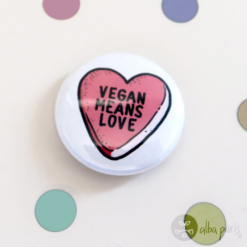 Vegan Love Vegan Means Love 1 BUTTON Cute Vegan Heart Candy