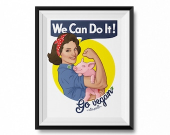 """We Can Do It! Go Vegan! 8.5"""" by 11"""" Art Print (FRAME NOT INCLUDED) Vegan For The Animals, Animal Rights, Cute Farm Animals, Vegan Gift"""