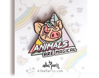 Animal Are Magical! - HARD ENAMEL PIN - Pig Pig Pin, Cute Pig, David Bowie, 80s, Pastel Pins