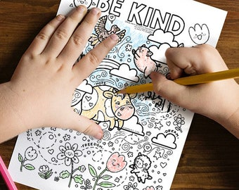 Be Kind - COLORING PAGE   Instant Download!!! Coloring Sheets   Spring Colouring Printables  Animals Kids Printables   Happy Animals