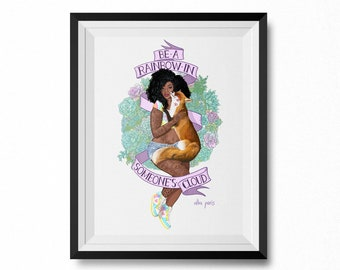 Be A Rainbow In Someone's Cloud Art Print (FRAME NOT INCLUDED) Animal Rights, Vegan Gift