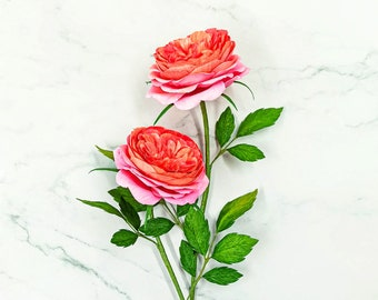 Handmade paper roses, handmade flower bouquet, paper garden roses, paper roses bouquet, handmade garden roses, coral flowers, crepe flowers