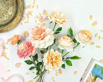 Handmade paper rose flower, paper roses bouquet, handmade bouquet, crepe roses, handmade botanical, crepe paper flowers, faux flowers