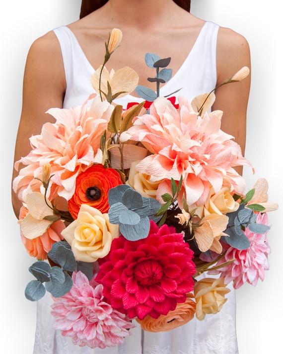 Paper Wedding Bouquet Paper Bridal Bouquet Artificial Etsy