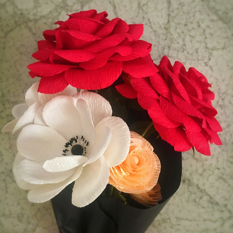 Small crepe paper floral bouquet of red paper roses with anemones and coral ranunculus handmade arrangement of 6 paper flowers