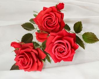 Paper rose stem, red paper rose, crepe paper rose, paper roses bouquet, paper flower bouquet, paper anniversary rose, bridesmaid bouquet red