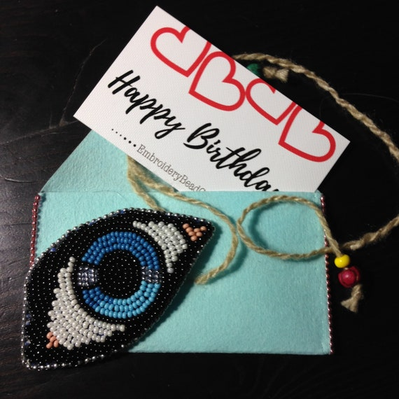 d448555360ff95 Eye brooch Bead embroidery brooch with message card and gift