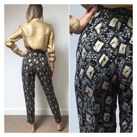 RARE 50s 60s Gold and Black Cigarette Pants, 50s 6
