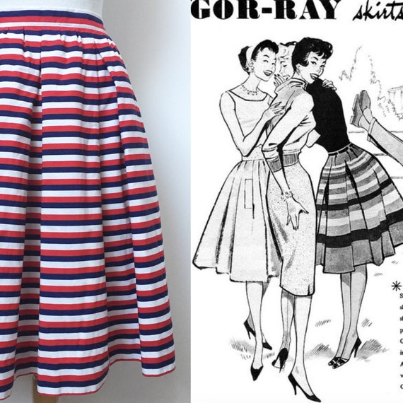 1950s GOR-RAY Skirt, 1950s Red White and Blue, 195