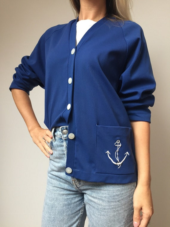 1950s 1960s Nautical Cardigan, 1950s Cardigan, 196