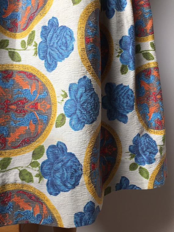 1950s Barkcloth Skirt, 1950s Novelty Print Skirt,… - image 3