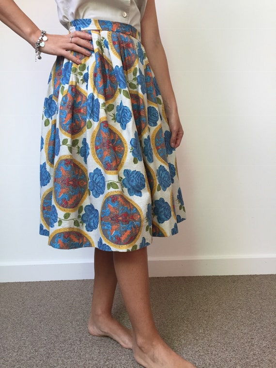 1950s Barkcloth Skirt, 1950s Novelty Print Skirt,… - image 5