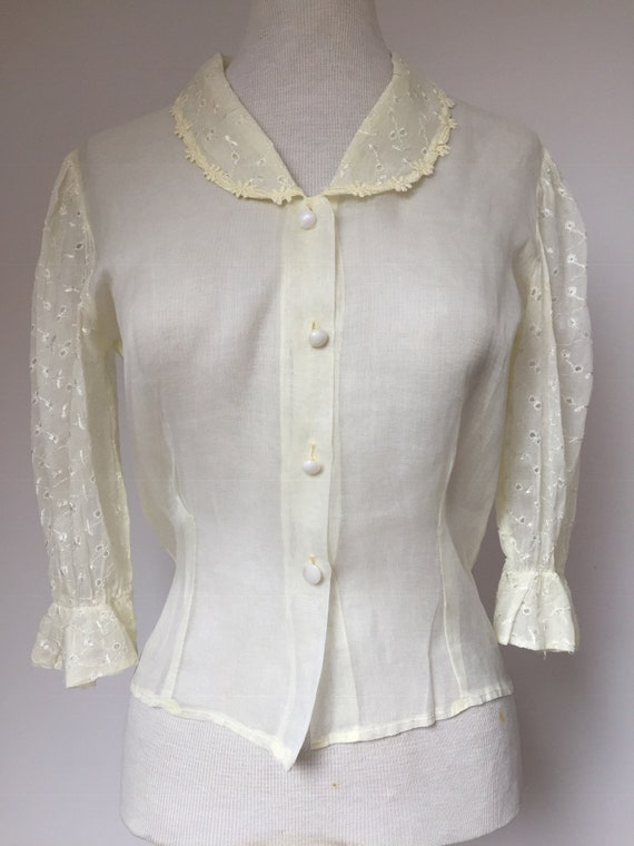 1940s 1950s Sheer Organza Blouse, 40s Blouse, 50s