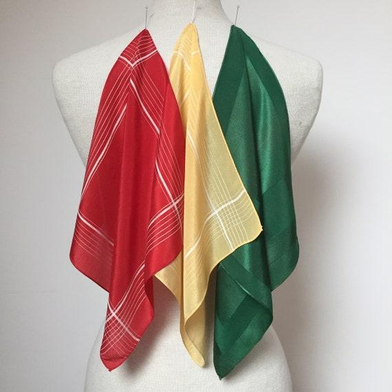 1940s Handkerchief Set of 3, 1940s pocket square