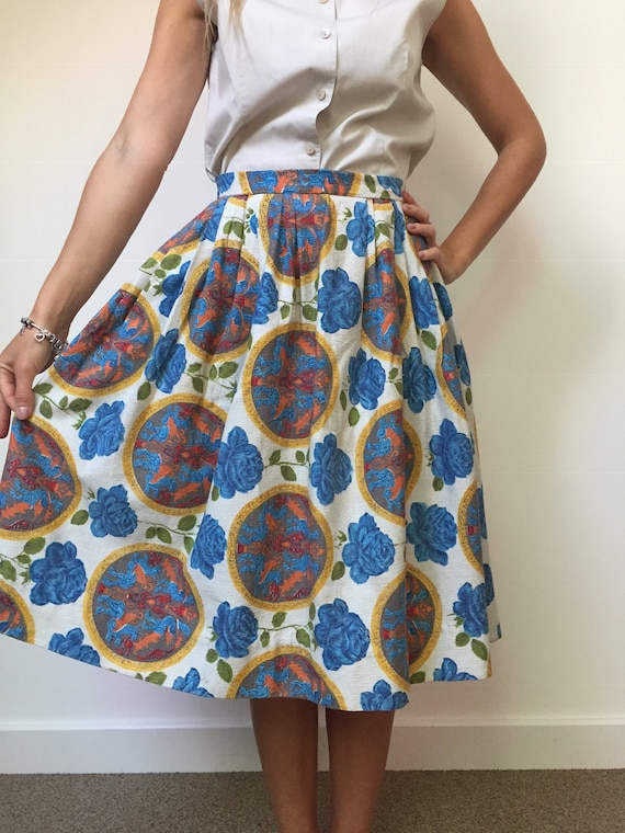 1950s Barkcloth Skirt, 1950s Novelty Print Skirt,… - image 6