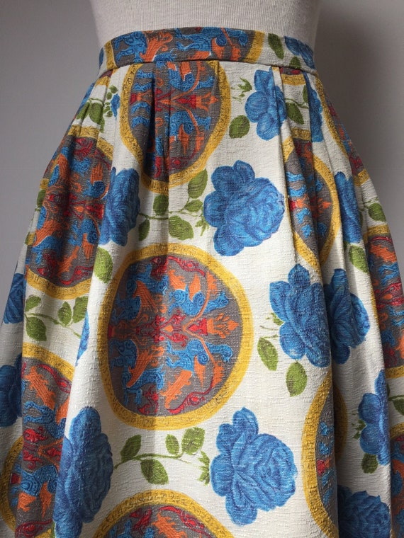 1950s Barkcloth Skirt, 1950s Novelty Print Skirt
