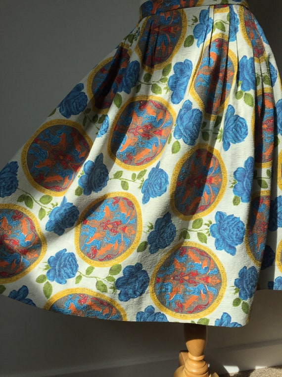 1950s Barkcloth Skirt, 1950s Novelty Print Skirt,… - image 7