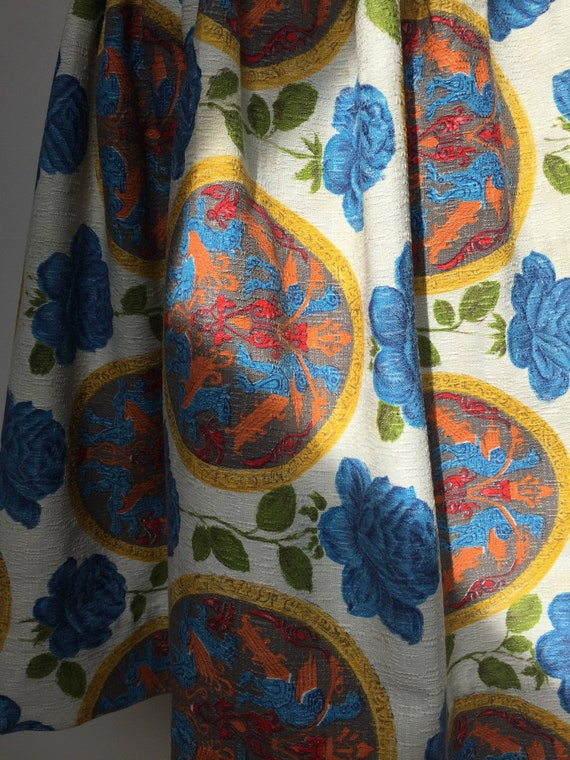 1950s Barkcloth Skirt, 1950s Novelty Print Skirt,… - image 10