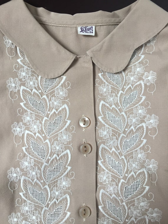 1940s Embroidered Blouse, Late 40s Blouse, 1940s … - image 5