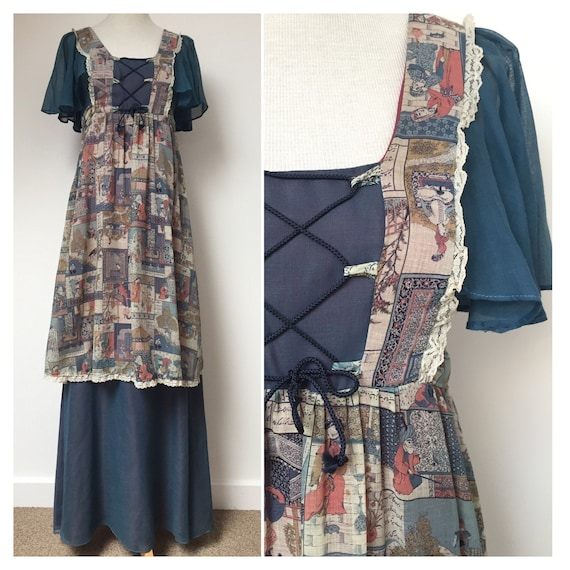 1970s Folk Dress, 1970s Boho Dress, 1970s Maxi Dre