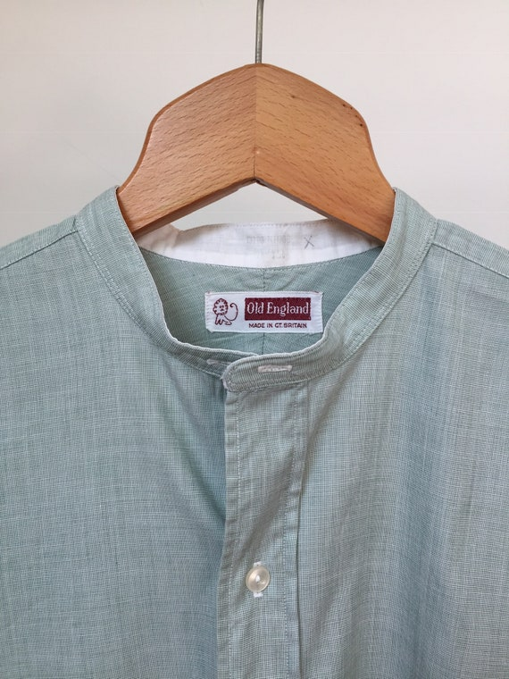 50s Old England Collarless Shirt, 50s Collarless S