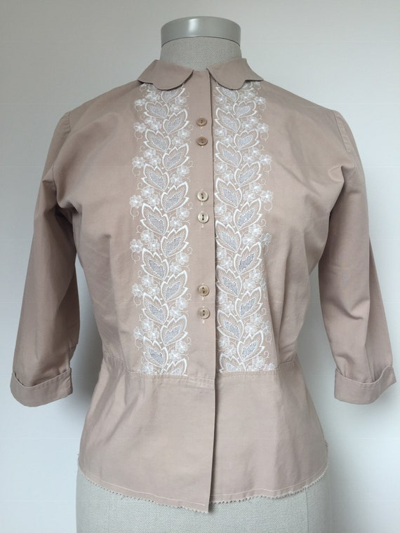 1940s Embroidered Blouse, Late 40s Blouse, 1940s … - image 3