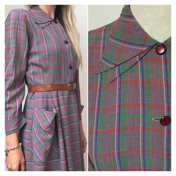 40s Double Collar Dress, 40s Plaid Dress, 40s Day