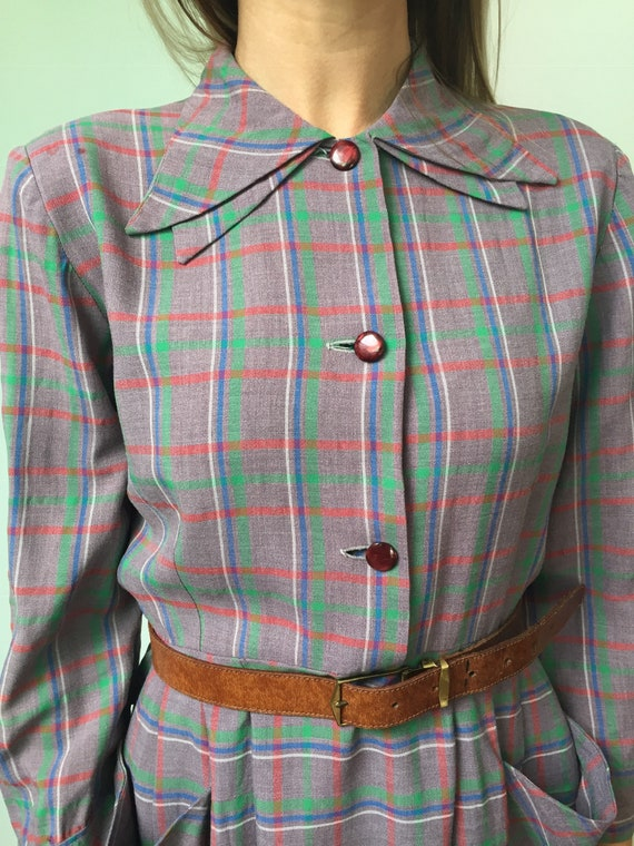 40s Double Collar Dress, 40s Plaid Dress, 40s Day… - image 8