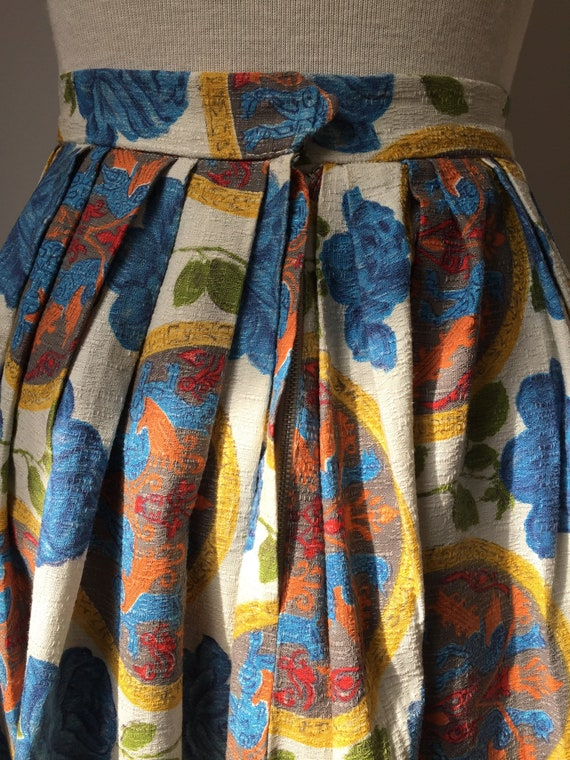 1950s Barkcloth Skirt, 1950s Novelty Print Skirt,… - image 4