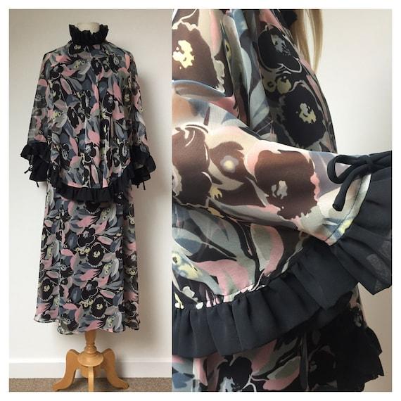 70s dress, 70s Simon Ellis dress, 70s evening dres