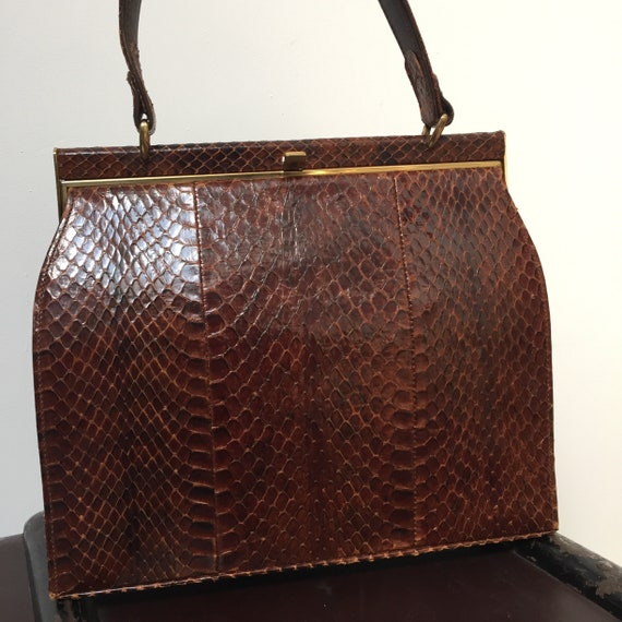 1940s 1950s snakeskin luxury  handbag
