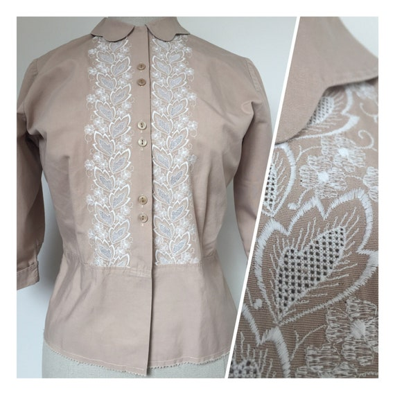 1940s Embroidered Blouse, Late 40s Blouse, 1940s S