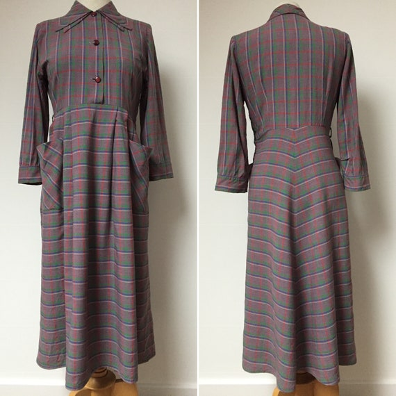 40s Double Collar Dress, 40s Plaid Dress, 40s Day… - image 2