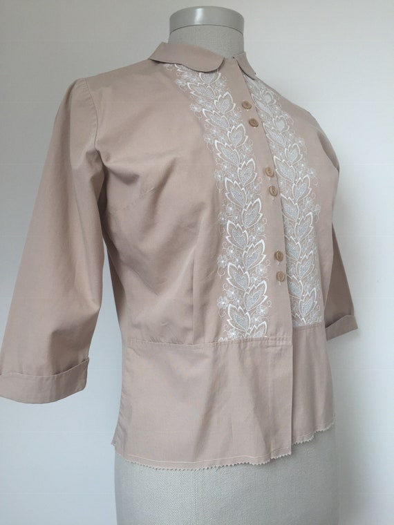 1940s Embroidered Blouse, Late 40s Blouse, 1940s … - image 9