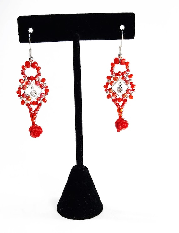 SALE Beautiful Fashion Jewellery 6cm Red Faceted Crystal Long Drop Earrings ...