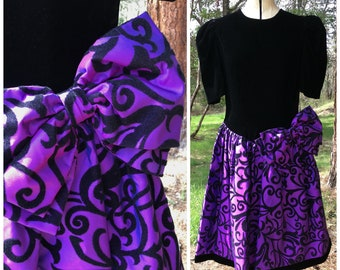 42df198be5 80s Black Velvet Purple Taffeta Prom Dress Vintage Formal Dress Iridescent  Poof Skirt Big Bow NICOLE Size 14 M L 1980s